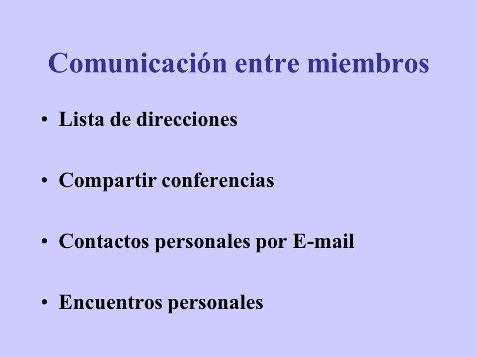 Lista de direcciones Compartir conferencias Contactos personales por E-mail Encuentros personales Comunicación entre miembros