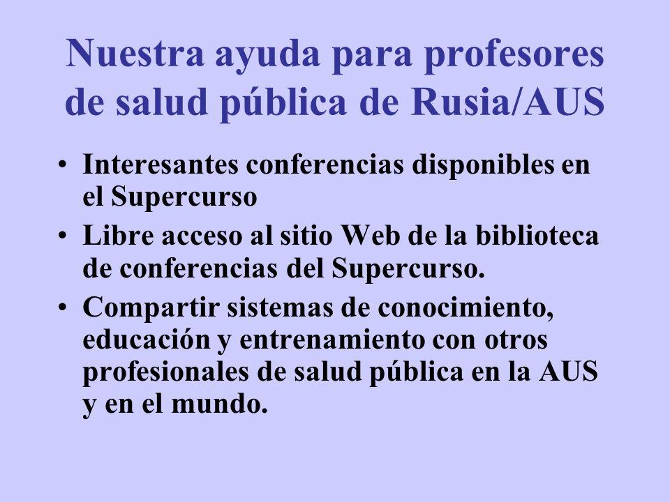Nuestra ayuda para profesores de salud pública de Rusia/AUS Interesantes conferencias disponibles en el Supercurso Libre acceso al sitio Web de la bib