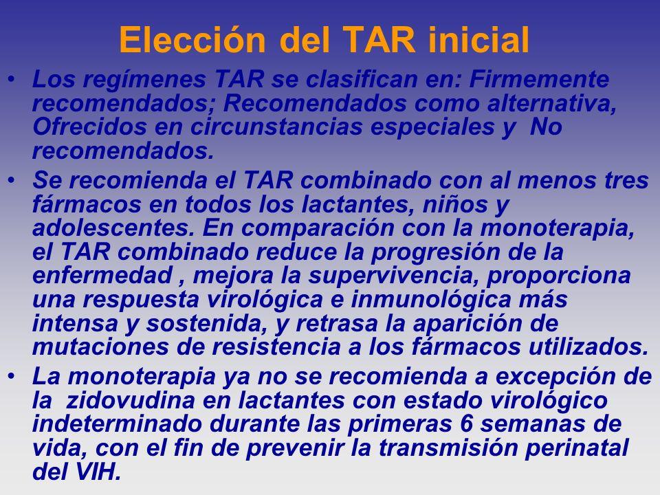 Elección del TAR inicial Los regímenes TAR se clasifican en: Firmemente recomendados; Recomendados como alternativa, Ofrecidos en circunstancias espec