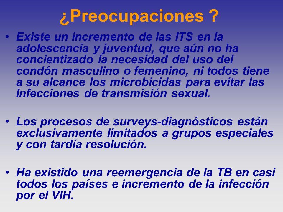 ¿Preocupaciones ? Existe un incremento de las ITS en la adolescencia y juventud, que aún no ha concientizado la necesidad del uso del condón masculino