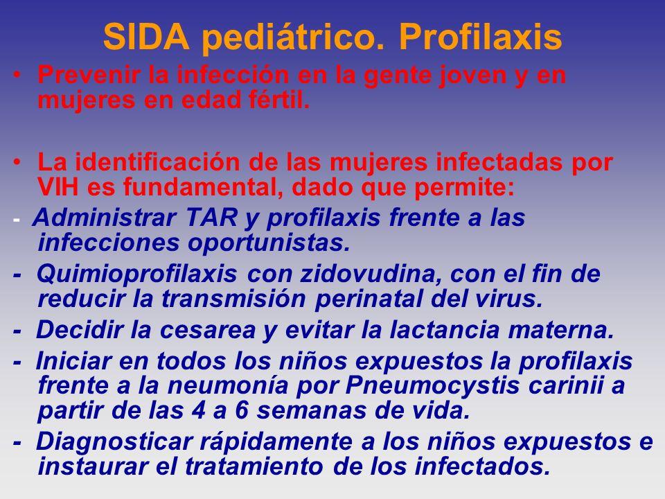 SIDA pediátrico. Profilaxis Prevenir la infección en la gente joven y en mujeres en edad fértil. La identificación de las mujeres infectadas por VIH e