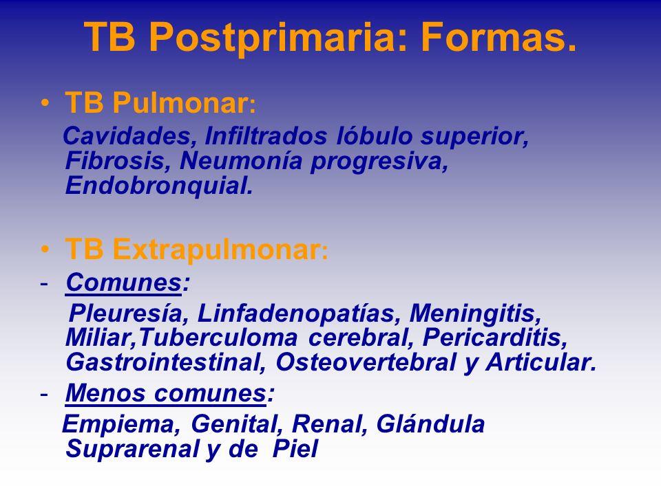 TB Postprimaria: Formas. TB Pulmonar : Cavidades, Infiltrados lóbulo superior, Fibrosis, Neumonía progresiva, Endobronquial. TB Extrapulmonar : -Comun