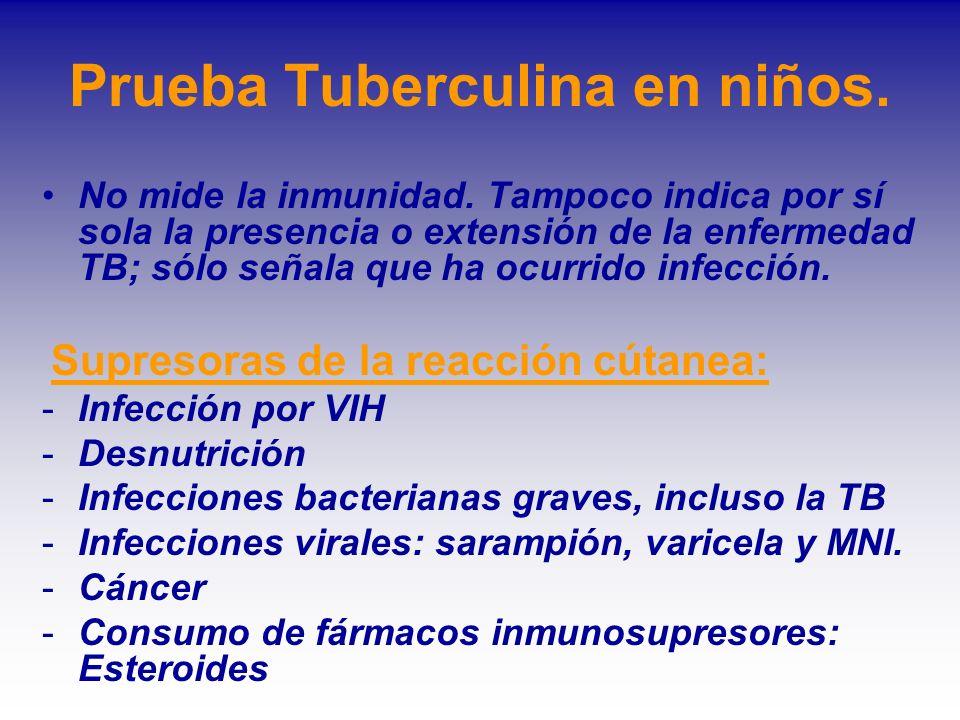 Prueba Tuberculina en niños. No mide la inmunidad. Tampoco indica por sí sola la presencia o extensión de la enfermedad TB; sólo señala que ha ocurrid