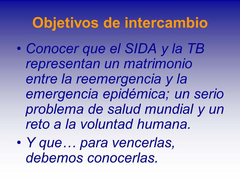 Objetivos de intercambio Conocer que el SIDA y la TB representan un matrimonio entre la reemergencia y la emergencia epidémica; un serio problema de s
