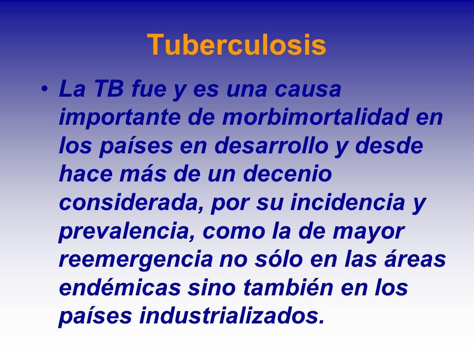 Tuberculosis La TB fue y es una causa importante de morbimortalidad en los países en desarrollo y desde hace más de un decenio considerada, por su inc