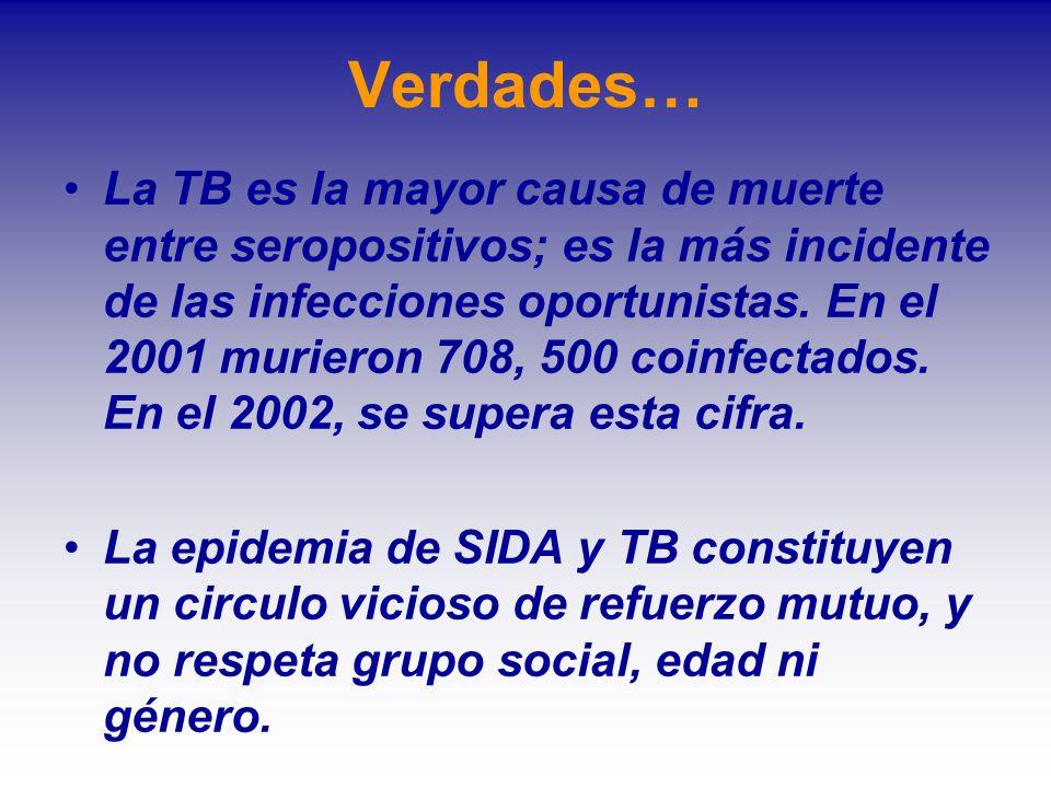 Verdades… La TB es la mayor causa de muerte entre seropositivos; es la más incidente de las infecciones oportunistas. En el 2001 murieron 708, 500 coi