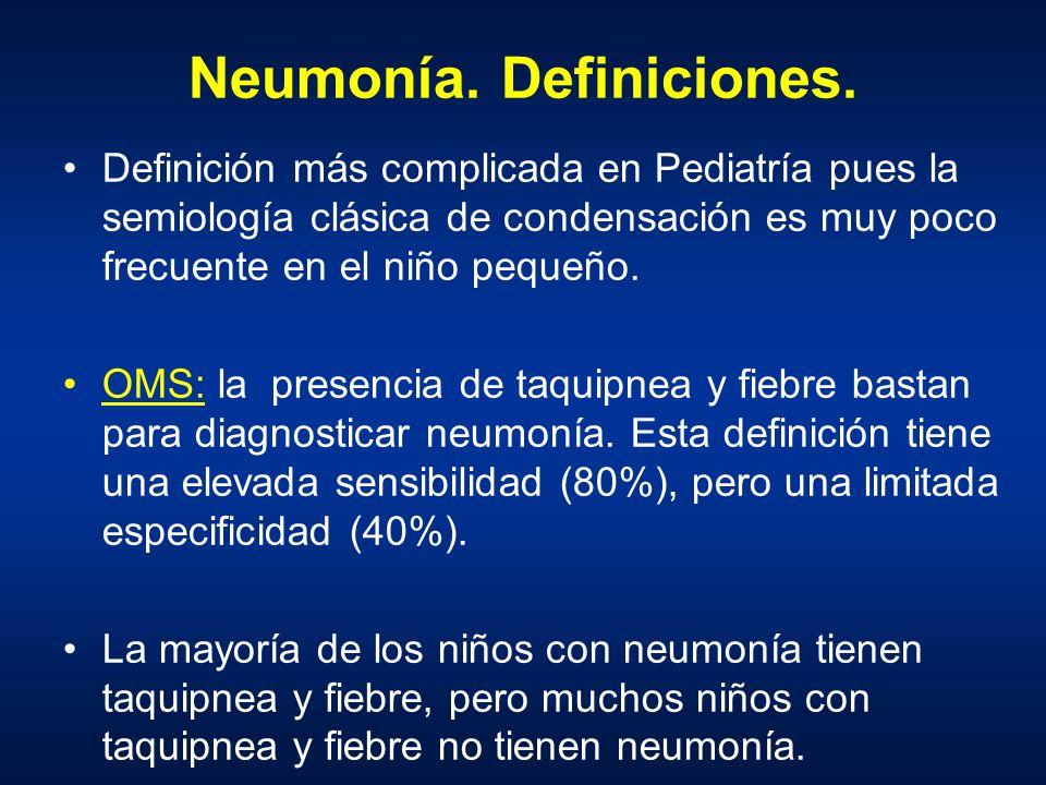 Neumonía. Definiciones. Definición más complicada en Pediatría pues la semiología clásica de condensación es muy poco frecuente en el niño pequeño. OM