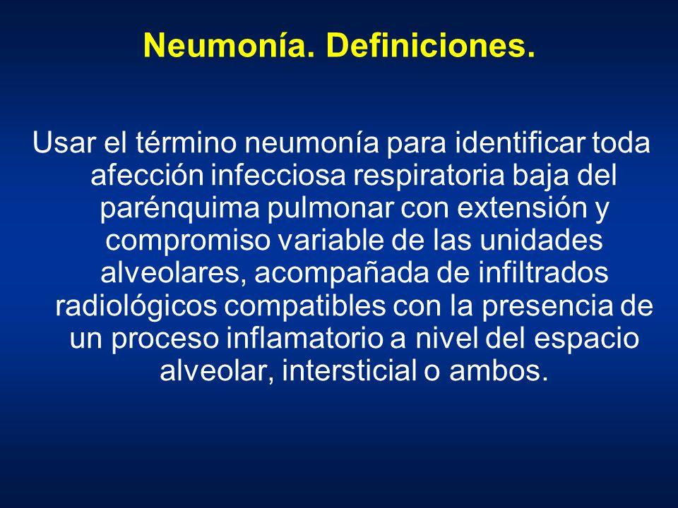 Neumonía. Definiciones. Usar el término neumonía para identificar toda afección infecciosa respiratoria baja del parénquima pulmonar con extensión y c