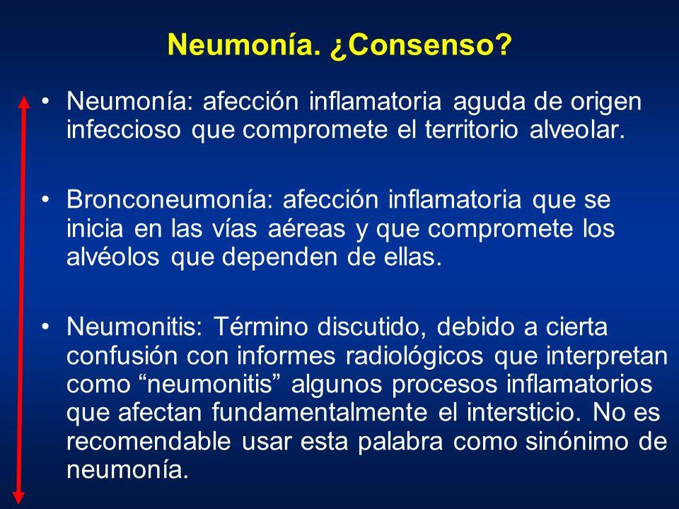 Neumonía. ¿Consenso? Neumonía: afección inflamatoria aguda de origen infeccioso que compromete el territorio alveolar. Bronconeumonía: afección inflam