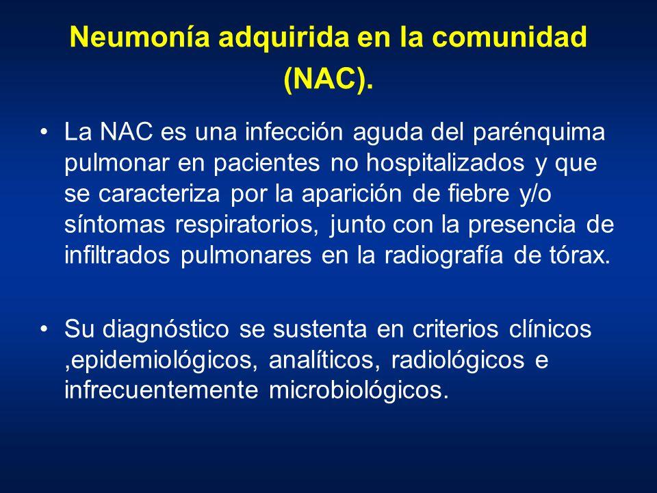 Neumonía adquirida en la comunidad (NAC). La NAC es una infección aguda del parénquima pulmonar en pacientes no hospitalizados y que se caracteriza po