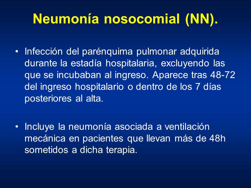 Neumonía nosocomial (NN). Infección del parénquima pulmonar adquirida durante la estadía hospitalaria, excluyendo las que se incubaban al ingreso. Apa