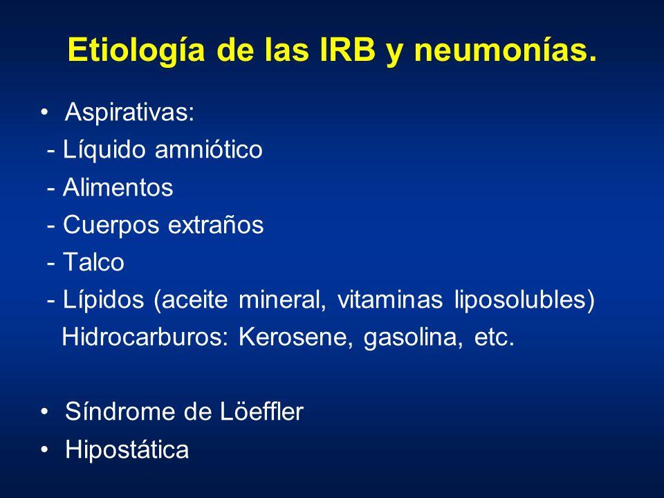 Etiología de las IRB y neumonías. Aspirativas: - Líquido amniótico - Alimentos - Cuerpos extraños - Talco - Lípidos (aceite mineral, vitaminas liposol