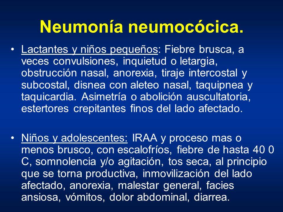 Neumonía neumocócica. Lactantes y niños pequeños: Fiebre brusca, a veces convulsiones, inquietud o letargia, obstrucción nasal, anorexia, tiraje inter
