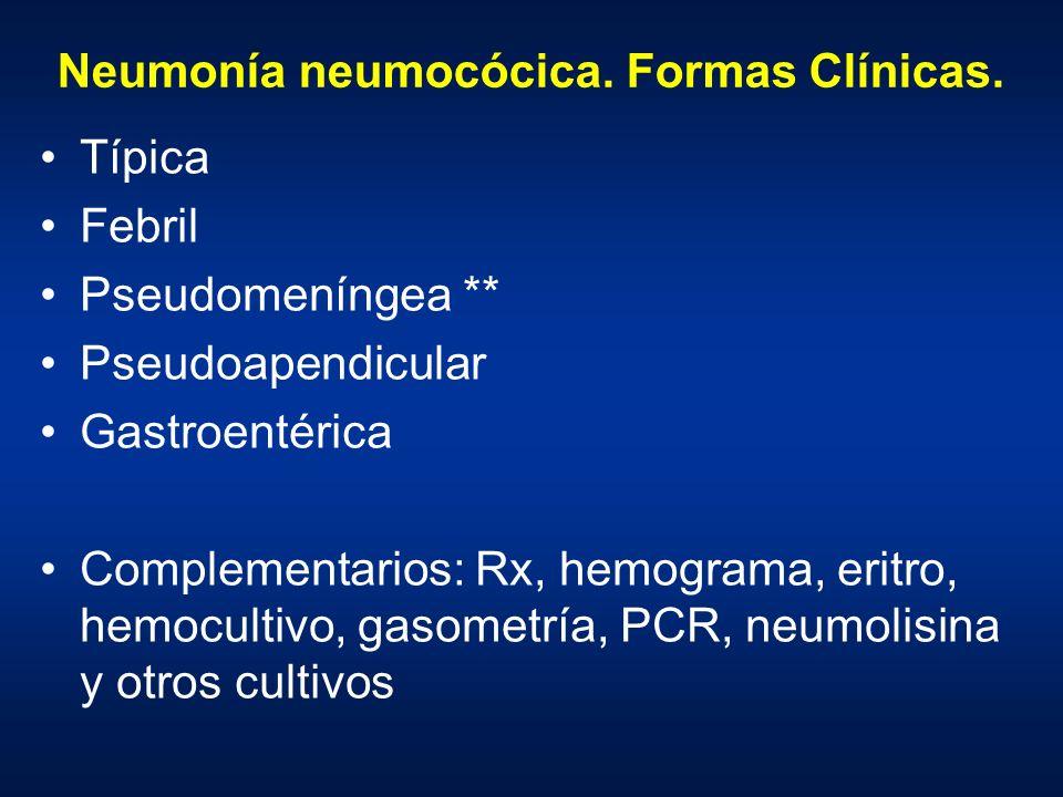 Neumonía neumocócica. Formas Clínicas. Típica Febril Pseudomeníngea ** Pseudoapendicular Gastroentérica Complementarios: Rx, hemograma, eritro, hemocu