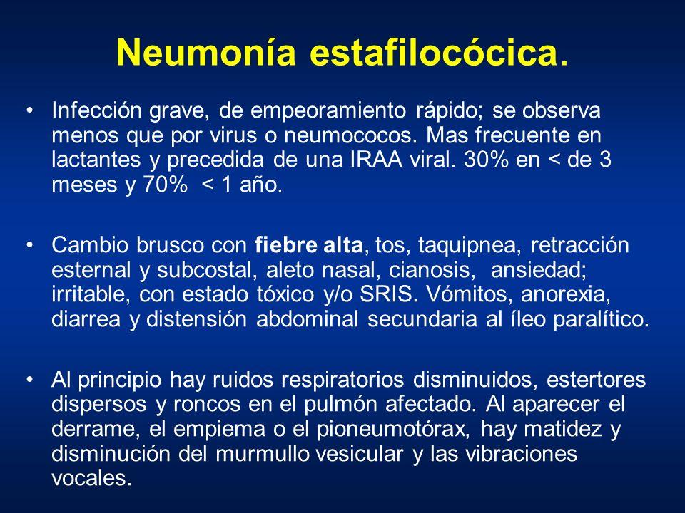 Neumonía estafilocócica. Infección grave, de empeoramiento rápido; se observa menos que por virus o neumococos. Mas frecuente en lactantes y precedida