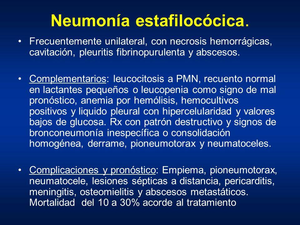 Neumonía estafilocócica. Frecuentemente unilateral, con necrosis hemorrágicas, cavitación, pleuritis fibrinopurulenta y abscesos. Complementarios: leu