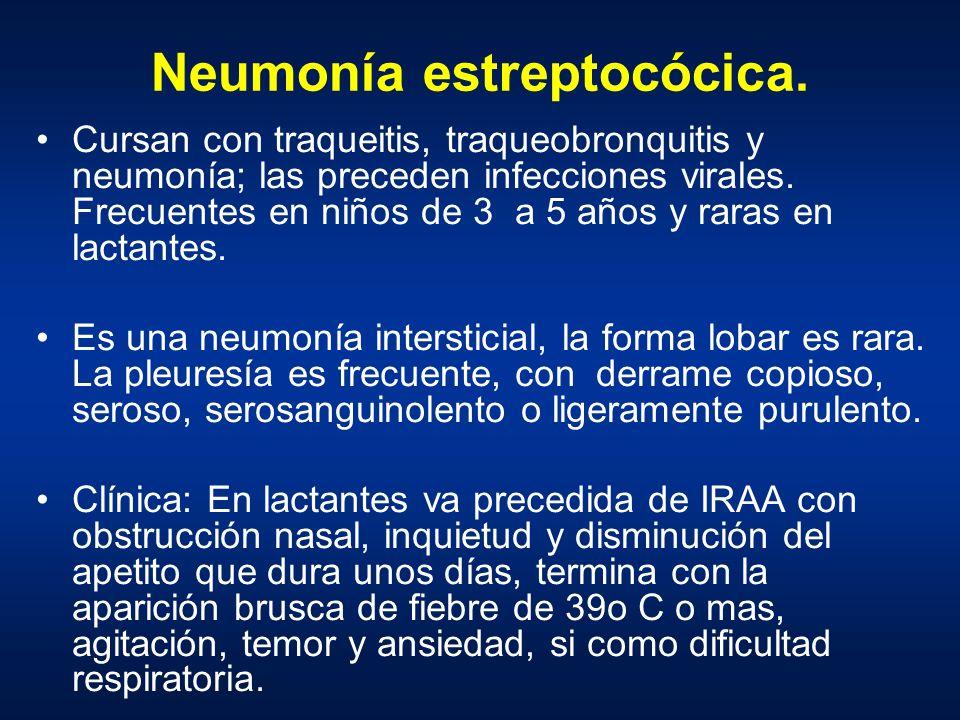 Neumonía estreptocócica. Cursan con traqueitis, traqueobronquitis y neumonía; las preceden infecciones virales. Frecuentes en niños de 3 a 5 años y ra