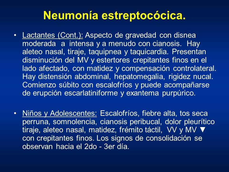 Neumonía estreptocócica. Lactantes (Cont.): Aspecto de gravedad con disnea moderada a intensa y a menudo con cianosis. Hay aleteo nasal, tiraje, taqui
