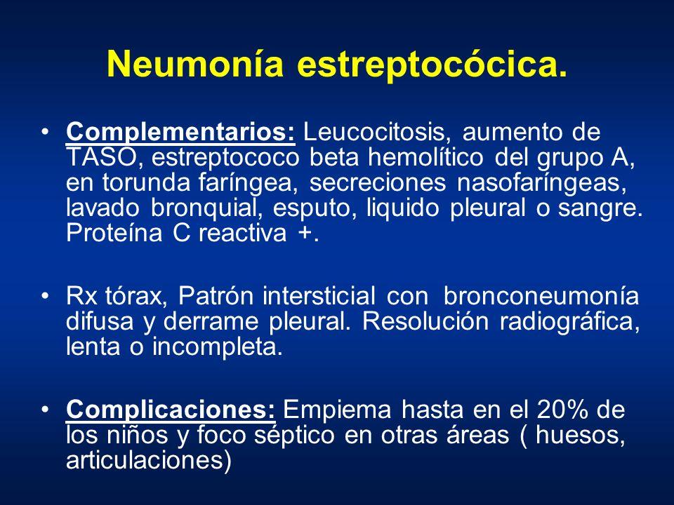 Neumonía estreptocócica. Complementarios: Leucocitosis, aumento de TASO, estreptococo beta hemolítico del grupo A, en torunda faríngea, secreciones na