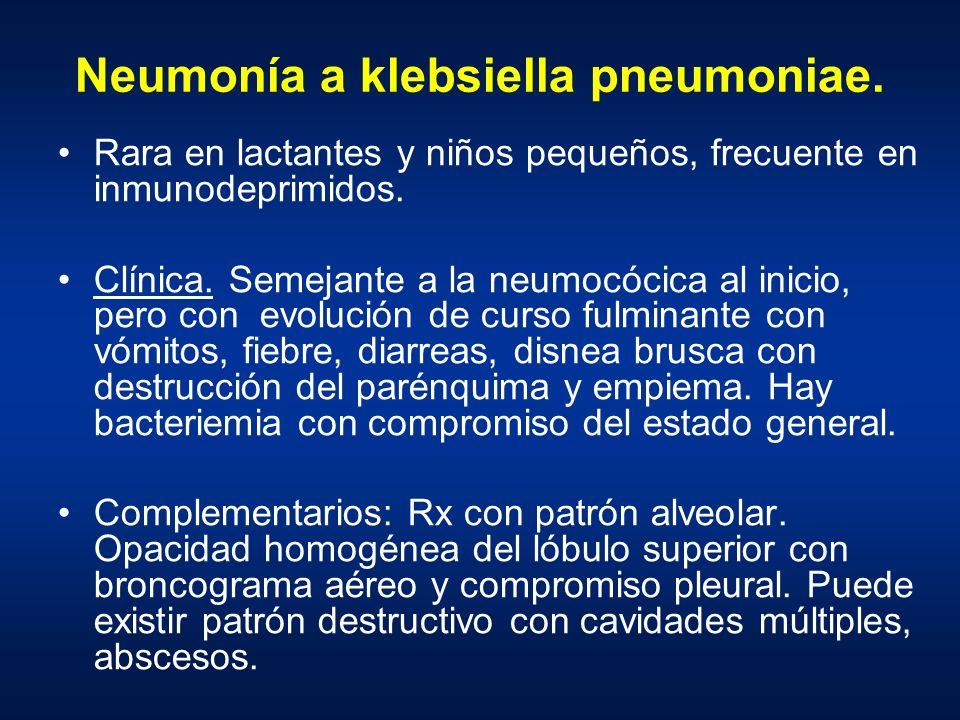 Neumonía a klebsiella pneumoniae. Rara en lactantes y niños pequeños, frecuente en inmunodeprimidos. Clínica. Semejante a la neumocócica al inicio, pe