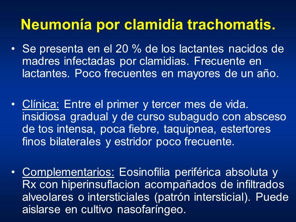 Neumonía por clamidia trachomatis. Se presenta en el 20 % de los lactantes nacidos de madres infectadas por clamidias. Frecuente en lactantes. Poco fr