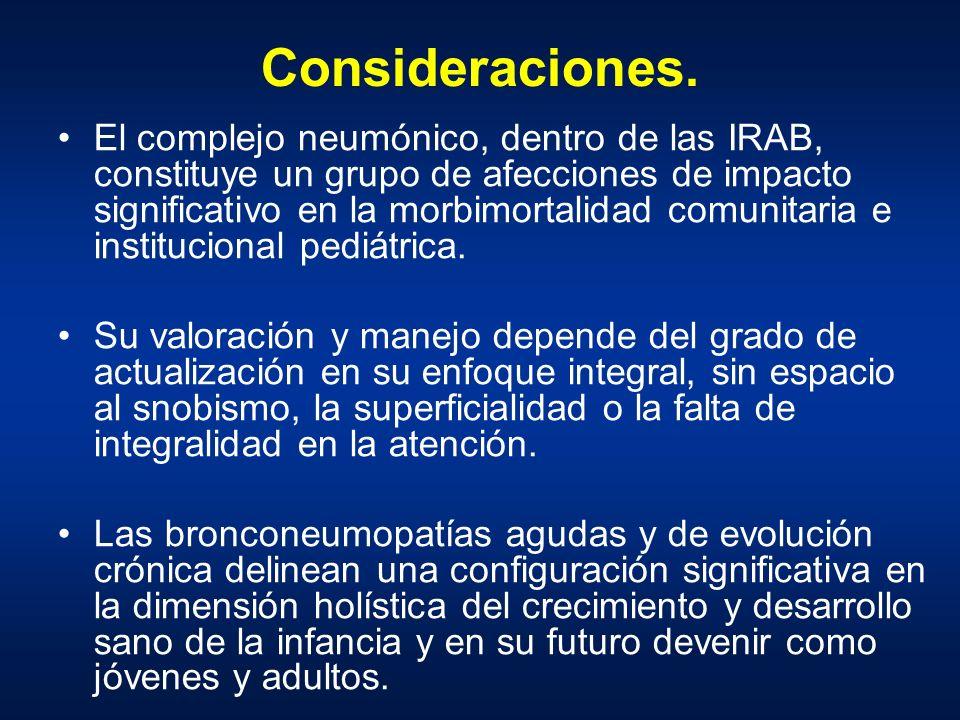 Consideraciones. El complejo neumónico, dentro de las IRAB, constituye un grupo de afecciones de impacto significativo en la morbimortalidad comunitar