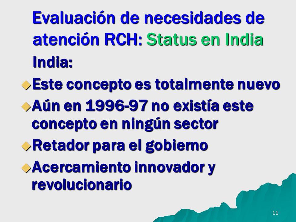 11 Evaluación de necesidades de atención RCH: Status en India India: India: Este concepto es totalmente nuevo Este concepto es totalmente nuevo Aún en 1996-97 no existía este concepto en ningún sector Aún en 1996-97 no existía este concepto en ningún sector Retador para el gobierno Retador para el gobierno Acercamiento innovador y revolucionario Acercamiento innovador y revolucionario