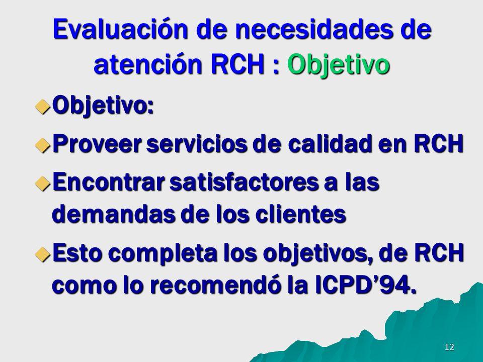 12 Evaluación de necesidades de atención RCH : Objetivo Objetivo: Objetivo: Proveer servicios de calidad en RCH Proveer servicios de calidad en RCH Encontrar satisfactores a las demandas de los clientes Encontrar satisfactores a las demandas de los clientes Esto completa los objetivos, de RCH como lo recomendó la ICPD94.