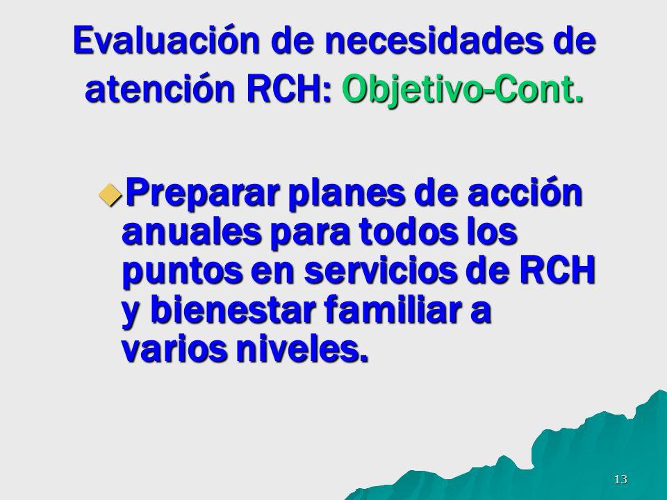 13 Evaluación de necesidades de atención RCH: Objetivo-Cont. Preparar planes de acción anuales para todos los puntos en servicios de RCH y bienestar f