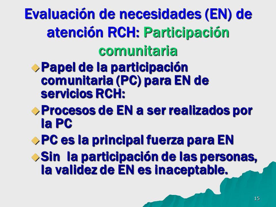 15 Evaluación de necesidades (EN) de atención RCH: Participación comunitaria Papel de la participación comunitaria (PC) para EN de servicios RCH: Pape
