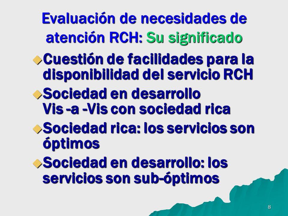 8 Evaluación de necesidades de atención RCH: Su significado Cuestión de facilidades para la disponibilidad del servicio RCH Cuestión de facilidades pa