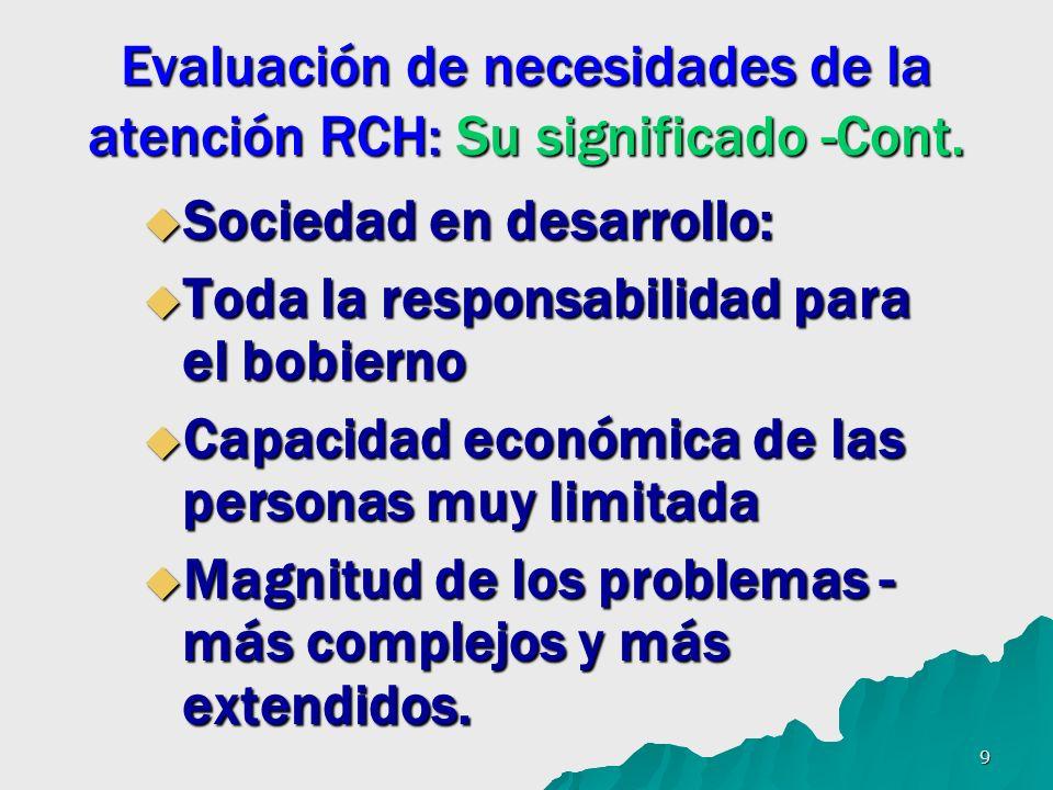 9 Evaluación de necesidades de la atención RCH: Su significado -Cont. Sociedad en desarrollo: Sociedad en desarrollo: Toda la responsabilidad para el