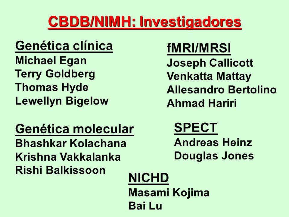 CBDB/NIMH: Investigadores Genética clínica Michael Egan Terry Goldberg Thomas Hyde Lewellyn Bigelow Genética molecular Bhashkar Kolachana Krishna Vakk