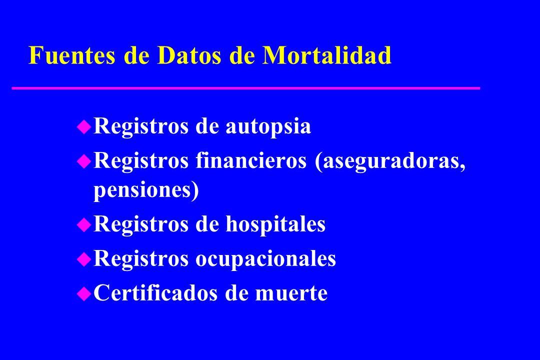 Fuentes de Datos de Mortalidad u Registros de autopsia u Registros financieros (aseguradoras, pensiones) u Registros de hospitales u Registros ocupaci