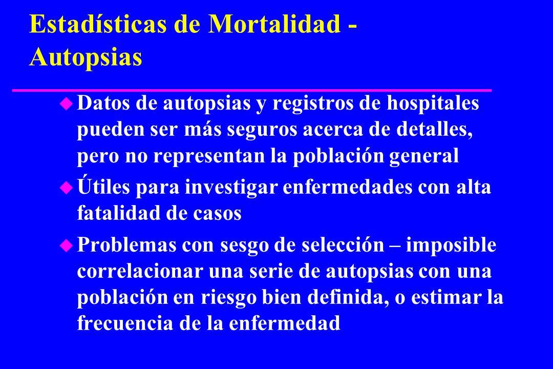 Estadísticas de Mortalidad - Autopsias u Datos de autopsias y registros de hospitales pueden ser más seguros acerca de detalles, pero no representan l
