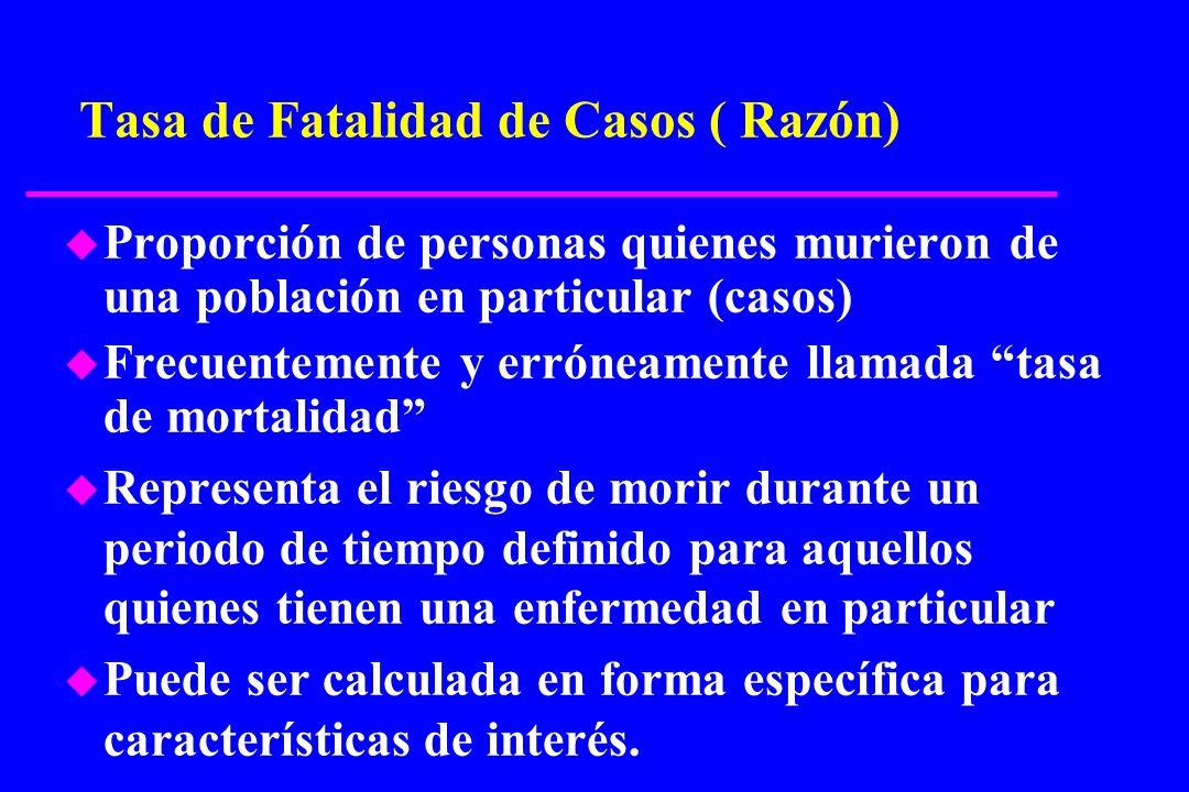 Tasa de Fatalidad de Casos ( Razón) u Proporción de personas quienes murieron de una población en particular (casos) u Frecuentemente y erróneamente l