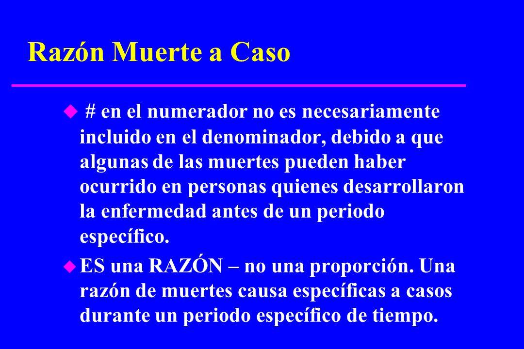 Razón Muerte a Caso u # en el numerador no es necesariamente incluido en el denominador, debido a que algunas de las muertes pueden haber ocurrido en