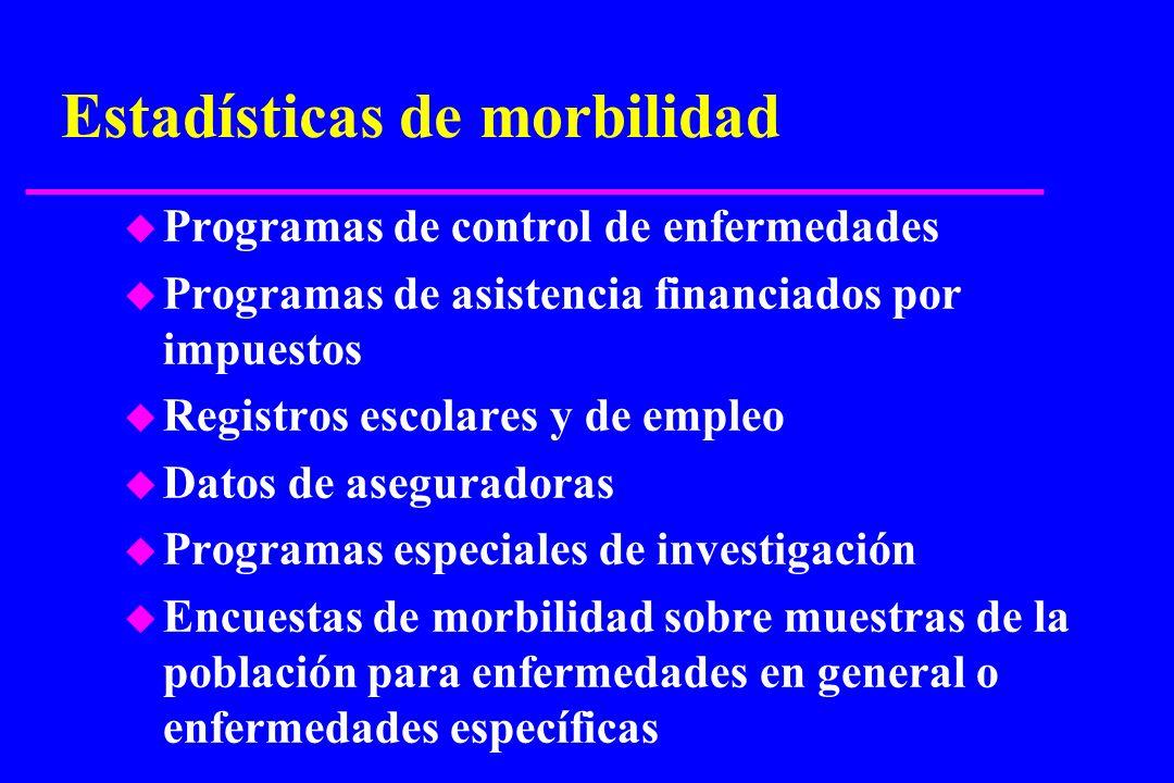Estadísticas de morbilidad u Programas de control de enfermedades u Programas de asistencia financiados por impuestos u Registros escolares y de emple