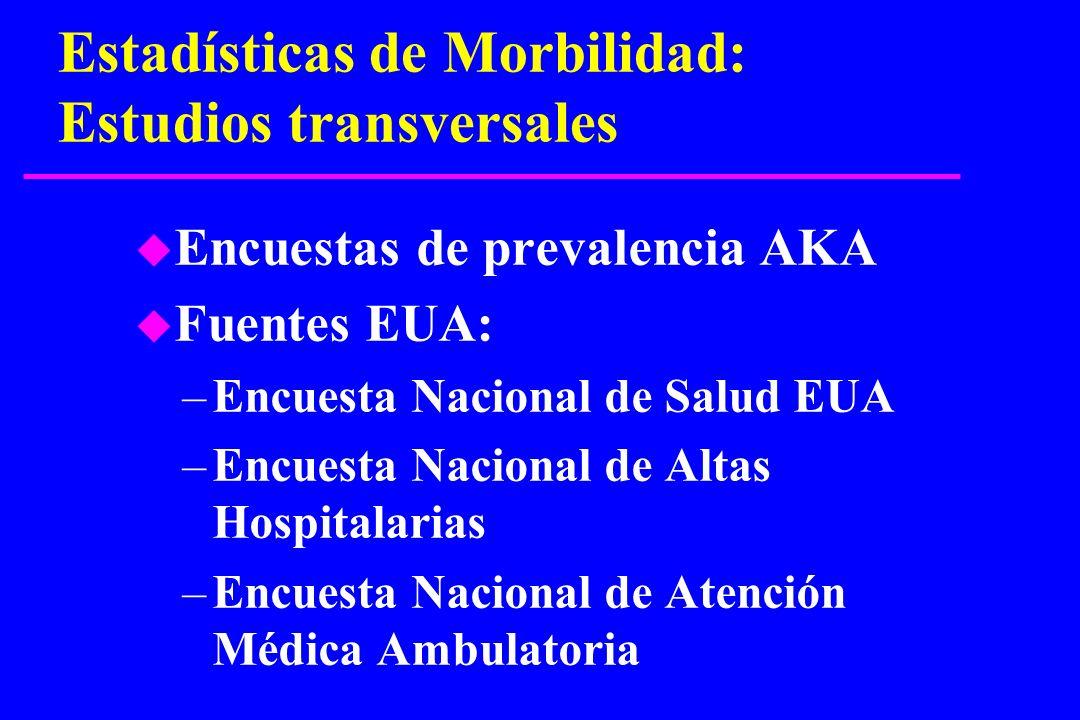 Estadísticas de Morbilidad: Estudios transversales u Encuestas de prevalencia AKA u Fuentes EUA: –Encuesta Nacional de Salud EUA –Encuesta Nacional de
