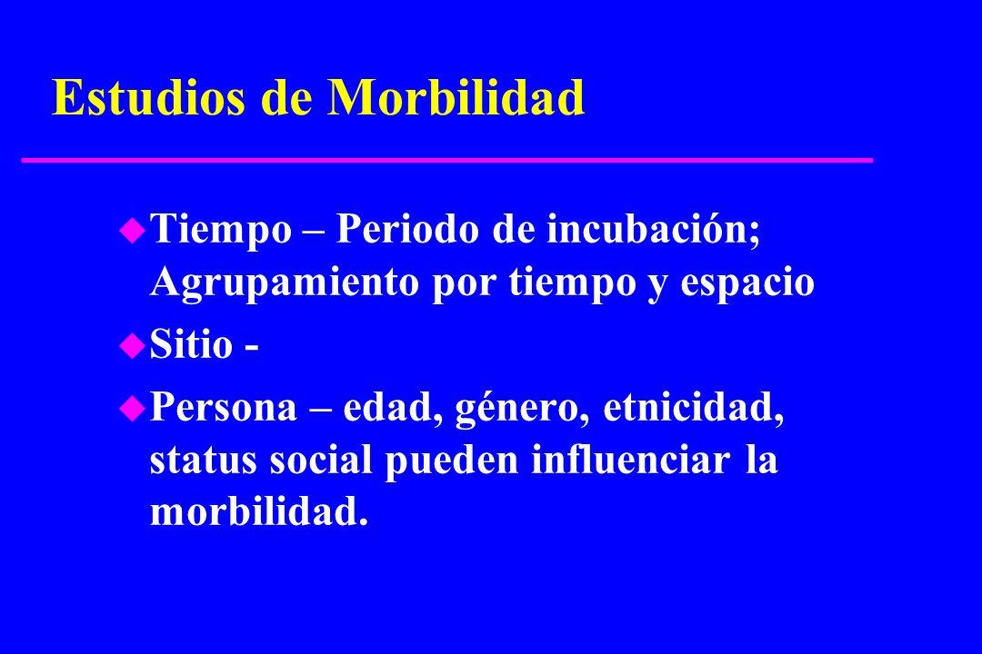 Estudios de Morbilidad u Tiempo – Periodo de incubación; Agrupamiento por tiempo y espacio u Sitio - u Persona – edad, género, etnicidad, status socia