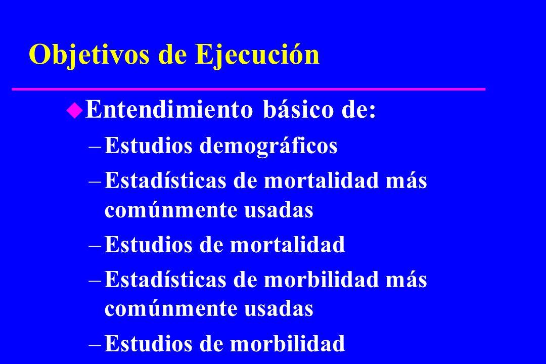 Objetivos de Ejecución u Entendimiento básico de: –Estudios demográficos –Estadísticas de mortalidad más comúnmente usadas –Estudios de mortalidad –Es