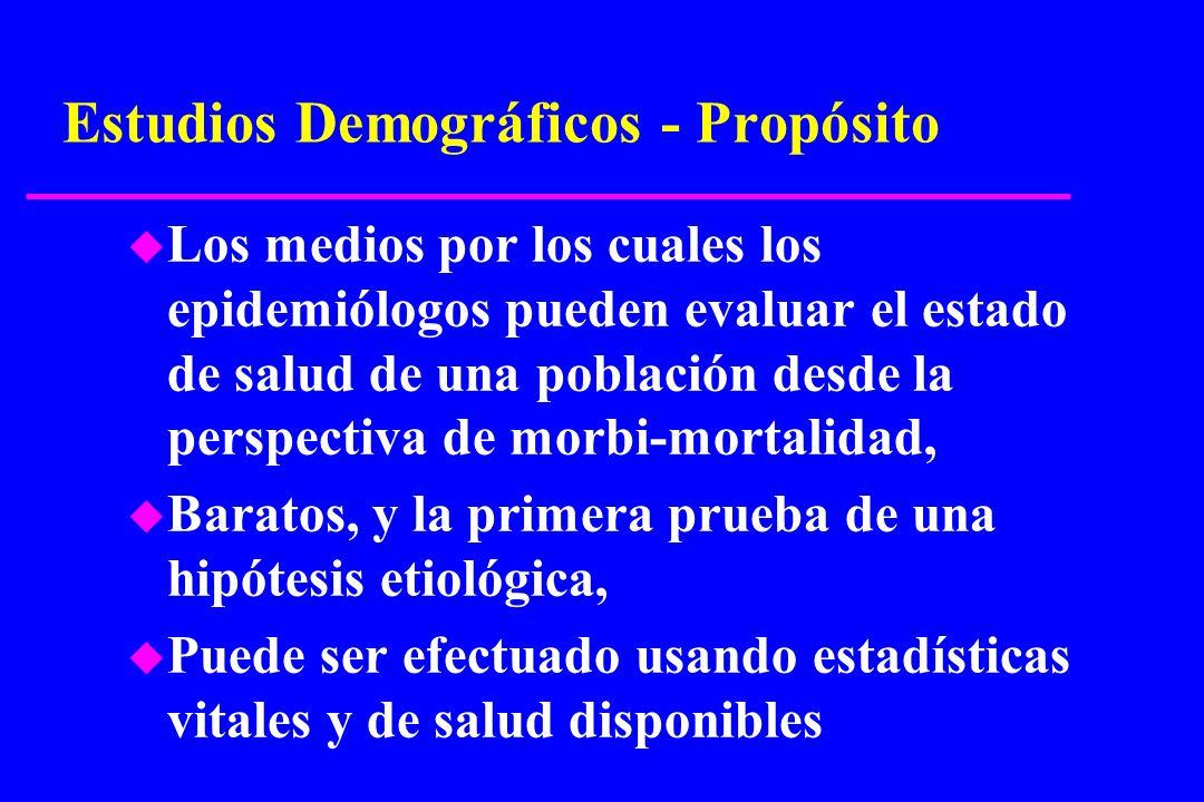 Estudios Demográficos - Propósito u Los medios por los cuales los epidemiólogos pueden evaluar el estado de salud de una población desde la perspectiv