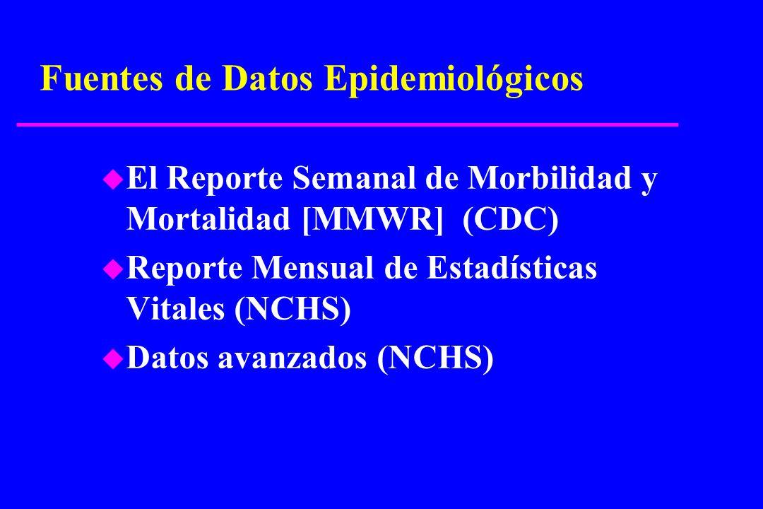 Fuentes de Datos Epidemiológicos u El Reporte Semanal de Morbilidad y Mortalidad [MMWR] (CDC) u Reporte Mensual de Estadísticas Vitales (NCHS) u Datos