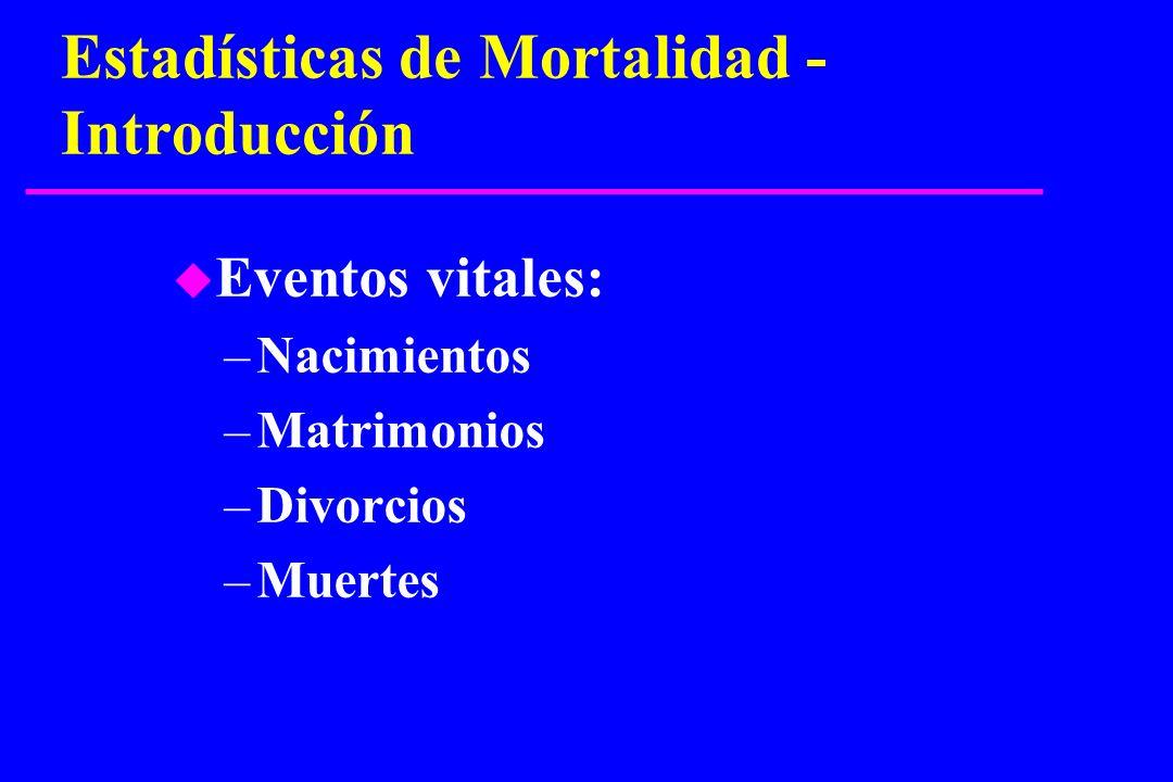 Estadísticas de Mortalidad - Introducción u Eventos vitales: –Nacimientos –Matrimonios –Divorcios –Muertes