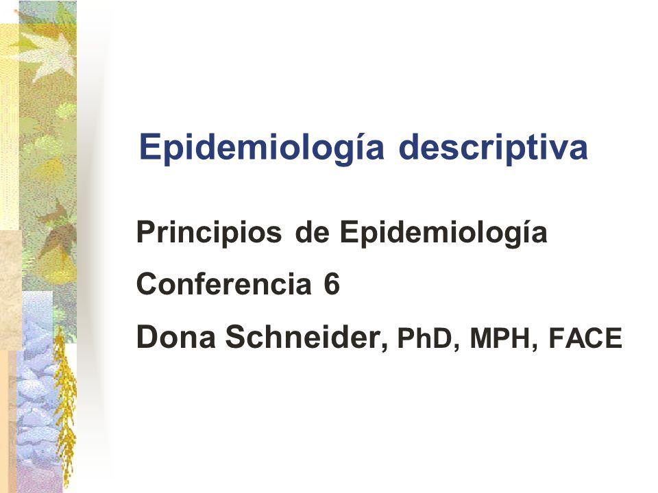 Epidemiology (Schneider) Razones posibles para cambios en las tendencias (cont.) Reales Cambios en la distribución de edad de la población Cambios en la sobrevida Cambios en la incidencia de enfermedades resultante de Factores genéticos Factores ambientales