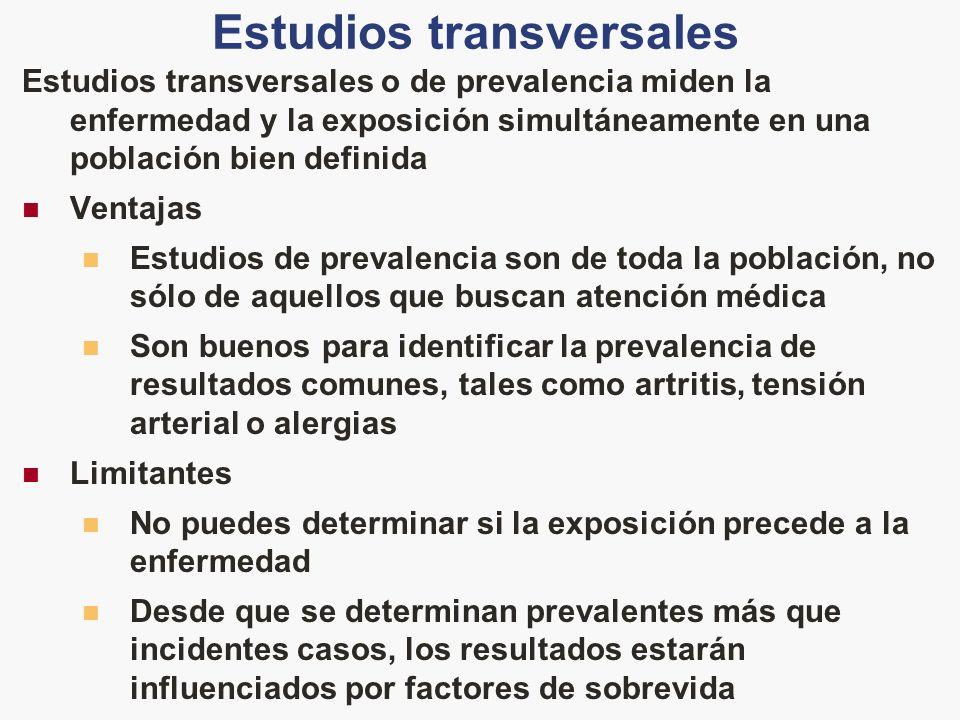 Estudios transversales Estudios transversales o de prevalencia miden la enfermedad y la exposición simultáneamente en una población bien definida Vent