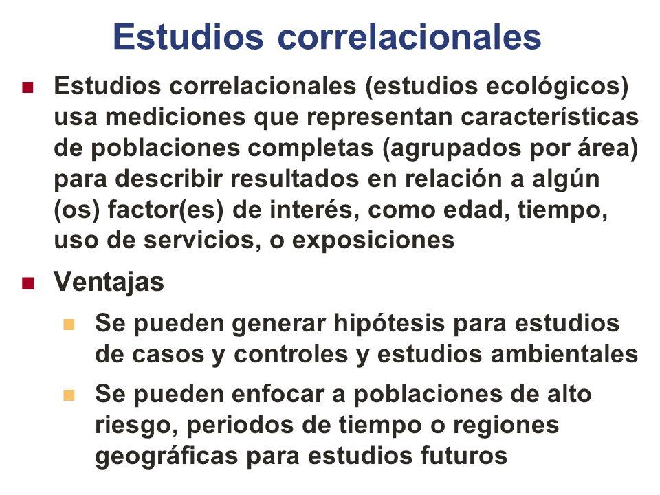 Estudios correlacionales Estudios correlacionales (estudios ecológicos) usa mediciones que representan características de poblaciones completas (agrup
