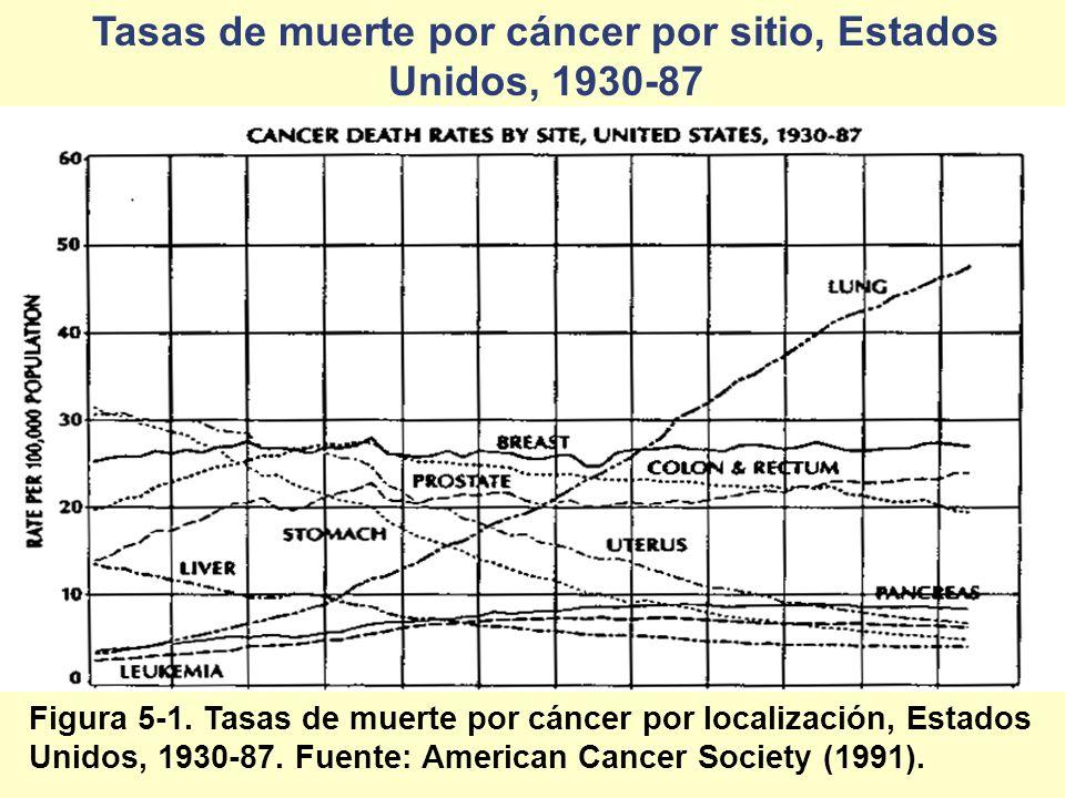 Tasas de muerte por cáncer por sitio, Estados Unidos, 1930-87 Figura 5-1. Tasas de muerte por cáncer por localización, Estados Unidos, 1930-87. Fuente