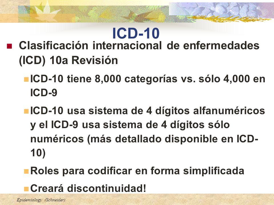 Epidemiology (Schneider) ICD-10 (cont.) Mejoras notables en el contenido y forma del ICD-10 incluyen: La adición de información relevante para cuidado ambulatorio Expansión de códigos de traumas Creación de la combinación de códigos de diagnóstico/síntomas para reducir el número de códigos necesarios para completamente describir una condición Mayor especificidad en la asignación de códigos