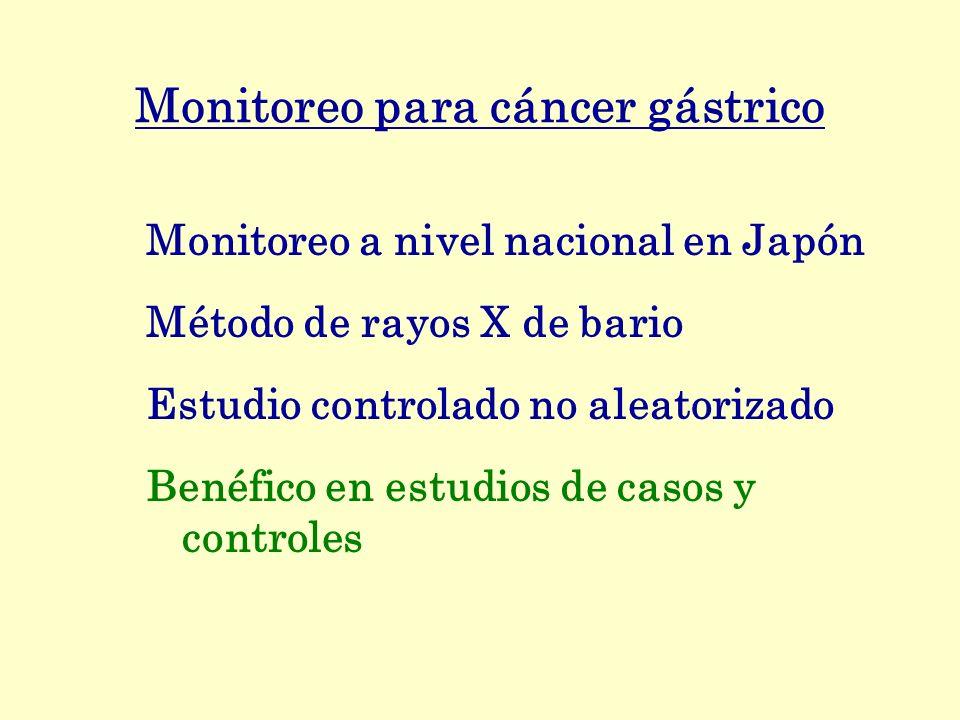 Monitoreo para cáncer gástrico Monitoreo a nivel nacional en Japón Método de rayos X de bario Estudio controlado no aleatorizado Benéfico en estudios